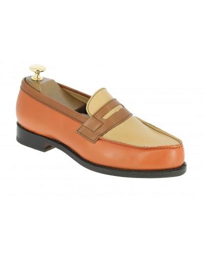 Mocassin Femme Center 51 0622 Wendy cuir multicolore orange marron taupe