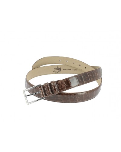 Mezlan genuine brown crocodile leather belt