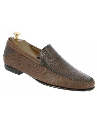 Moccasin Mezlan 7207 genuine brown ostrich leg