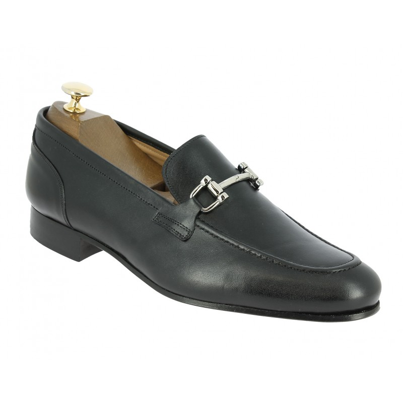 Moccasin shoe Center 51 New horse black leather