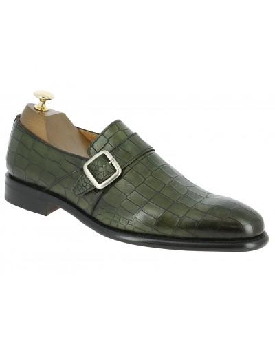 Monk strap shoe Berwick 3520 green leather crocodile print finish