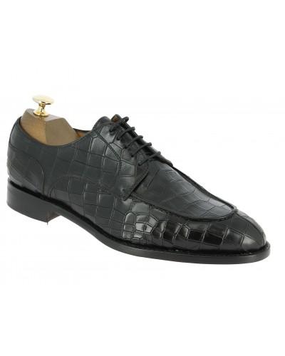 Derby shoe Berwick 4769 black leather crocodile print finish