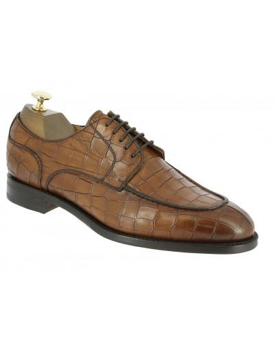 Derby shoe Berwick 4769 brown leather crocodile print finish