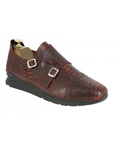 Double Monk strap Sneakers Center 51 12998 red leather python print finish