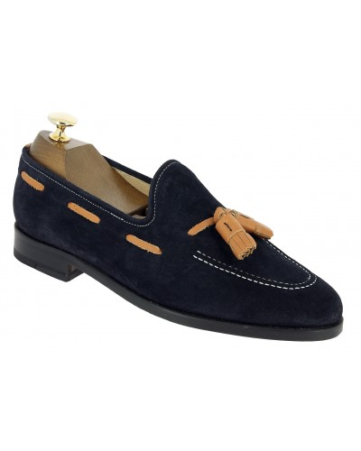 Moccasin with Pompons Center 51 3136 Will blue navy suede with brown leather tassels