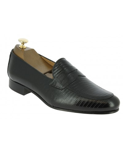 Moccasin shoe Center 51 Classico 6369 black leather lizard print finish