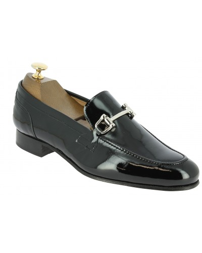 Moccasin shoe Center 51 Classico horse black varnished leather