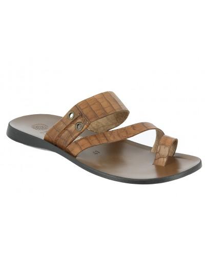 Sandals Zeus 1092 brown leather crocodile print finish
