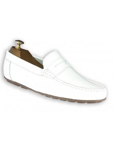 Moccasin Driver Center 51 AJ 955 white leather