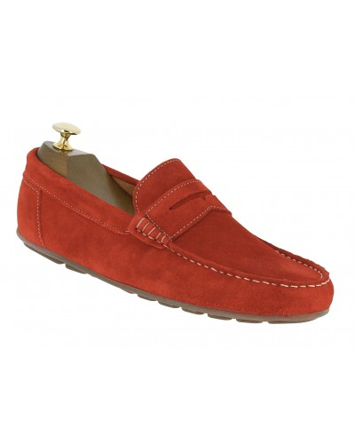 Moccasin Driver Center 51 AJ 955 red suede