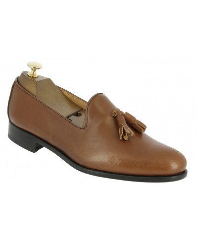 Moccasin shoe with pompons Center 51 Classico Safety brown leather