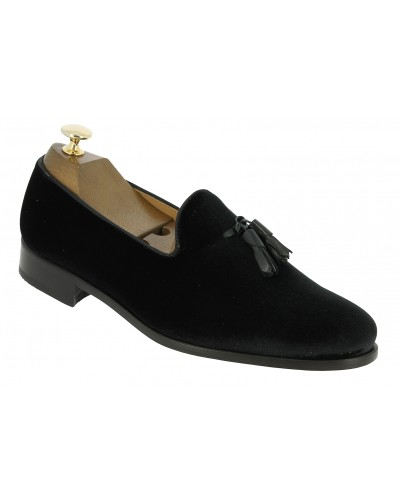 Moccasin shoe with pompons Center 51 Classico Safety black velvet