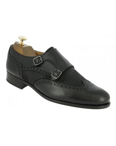 Double Monk strap shoe Center 51 Classico Daemon bi-material black leather and black suede