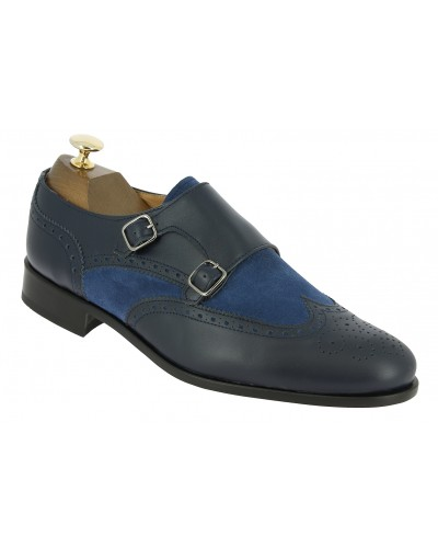 Double Monk strap shoe Center 51 Classico Daemon bi-material blue navy leather and blue navy suede