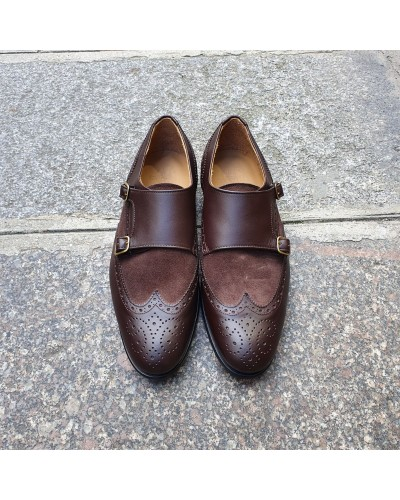 Double Monk strap shoe Center 51 Classico Daemon bi-material brown leather and brown suede