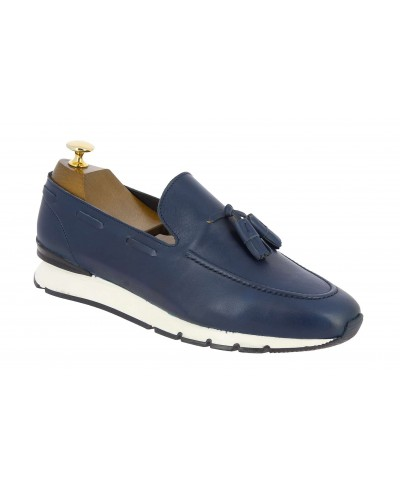 Moccasin with Pompons Sneakers Center 51 13504 navy blue leather
