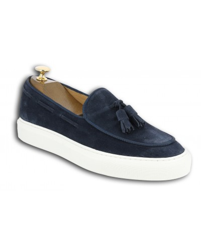 Moccasin with Pompons Sneakers Center 51 Coolest blue navy suede