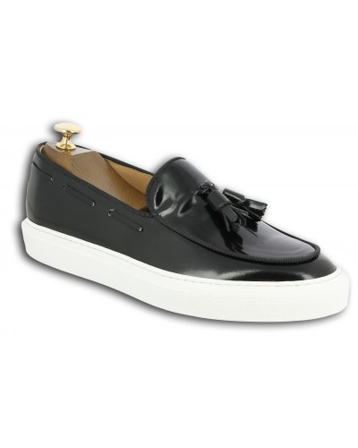 Moccasin with Pompons Sneakers Center 51 Coolest black leather