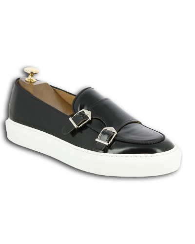 Moccasin double monk strap Sneakers Center 51 SmartKV black leather