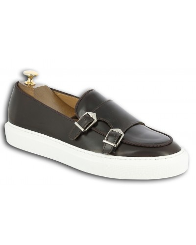 Moccasin double monk strap Sneakers Center 51 SmartKV dark brown leather