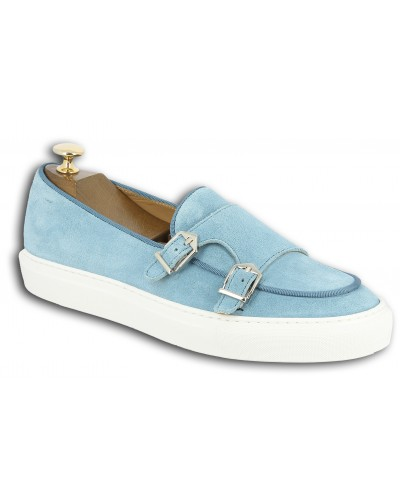 Moccasin double monk strap Sneakers Center 51 SmartKV sky blue suede