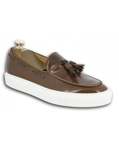 Sneakers mocassin à pompons Center 51 Coolest cuir marron