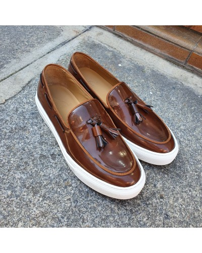 Moccasin with Pompons Sneakers Center 51 Coolest brown leather