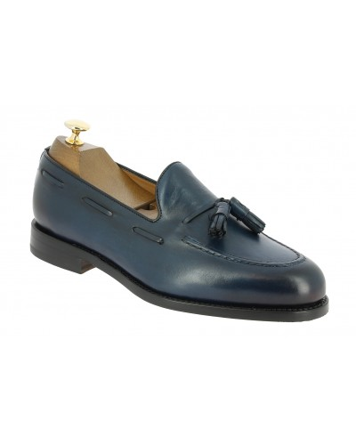 Moccasin with pompons Berwick 8491 blue navy leather