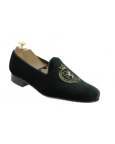 Mocassin brodé slippers sleepers Center 51 crown velours noir