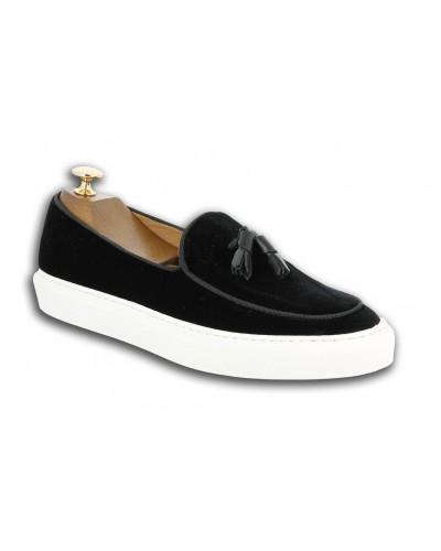 Sneakers mocassin à pompons Center 51 Coolest velours noir