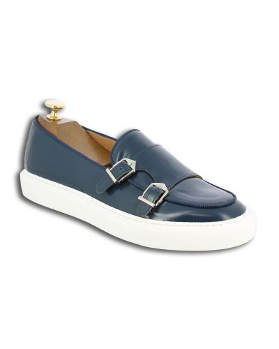 Moccasin double monk strap Sneakers Center 51 SmartKV navy blue leather