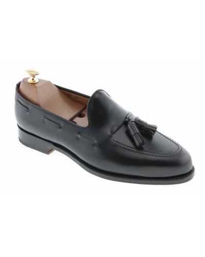 Moccasin with Pompons John Mendson 3079 black leather